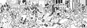 Power Rangers vs Transformers BW by artrobot9000