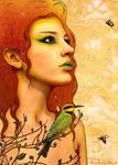 Rainbow Bee Eater + Fairy Art by enchantedgal