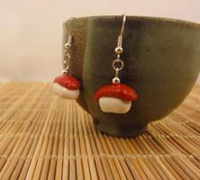 Tuna sushi earrings by Koreena