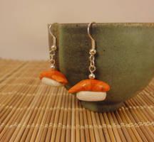 Salmon sushi earrings by Koreena