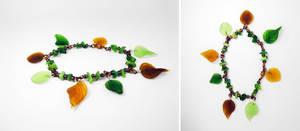 Green 'n brown leaf bracelet 2 by Koreena