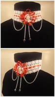 Ribbon flower choker by Koreena