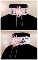 Pink Ribbon and Roses Choker by Koreena