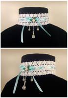Blue Ribbon and Roses Choker by Koreena