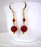 Red and gold earrings 2 by Koreena