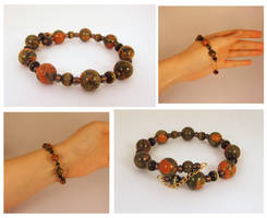 Unakite and cats eye bracelet by Koreena