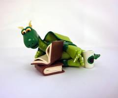 Dragon with books 2 by Koreena