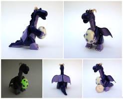 Purple dragon with egg by Koreena