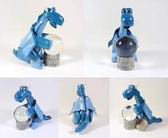 Blue dragon with ball by Koreena