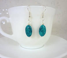 Blue stone dangle earrings by Koreena