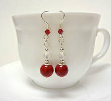Red and silver earrings 1 by Koreena