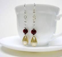 Dark red and pearl earrings by Koreena