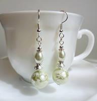 White Wedding earrings 2 by Koreena