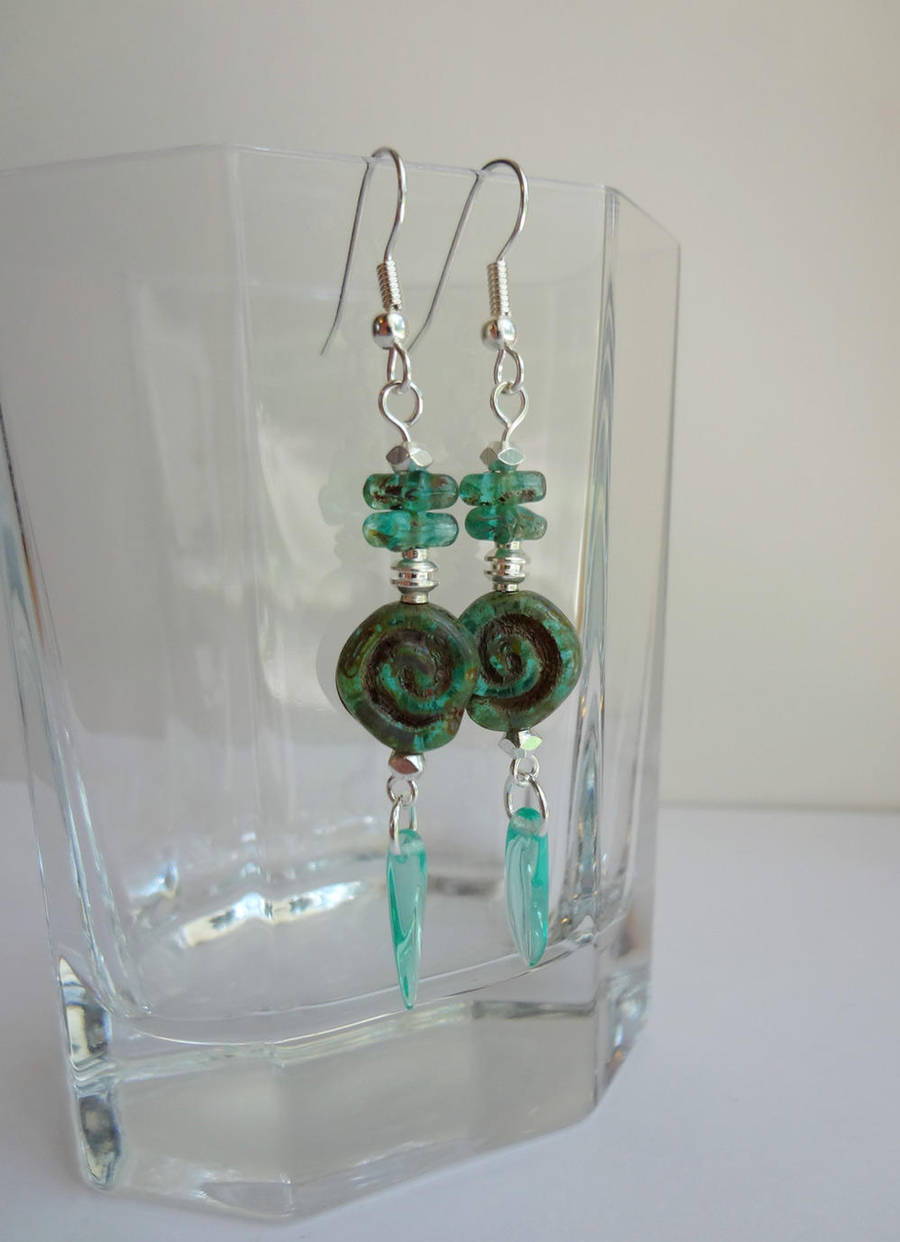 Turquoise spiral earrings by Koreena