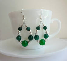 Green and silver earrings by Koreena