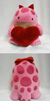 Pink quaggan plush with heart by Koreena