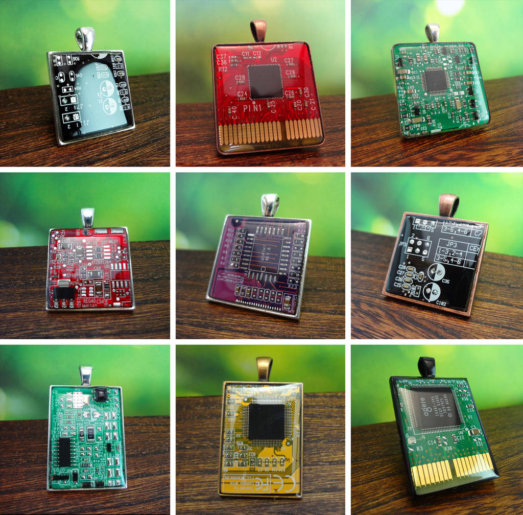 Circuit board pendants by Koreena