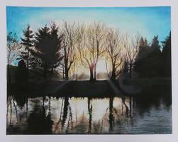 Oil pastel Landscape drawing by mich-spich