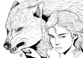 Arya and Nymeria by k0niczyna