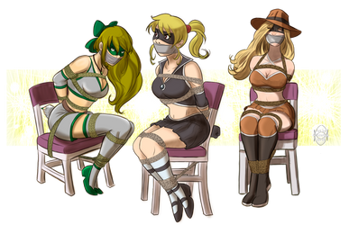 Music star sisters/Heroines chairtied by MisterEye