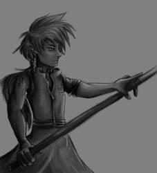 Elfen staff warrior  - WIP by FlamesofFireLily