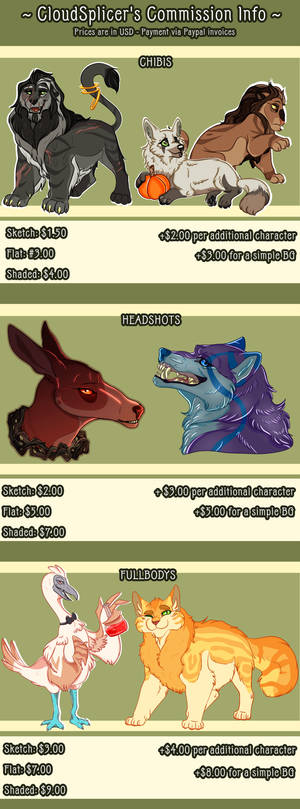 Commission Prices - 2018 - CLOSED by CloudSplicer