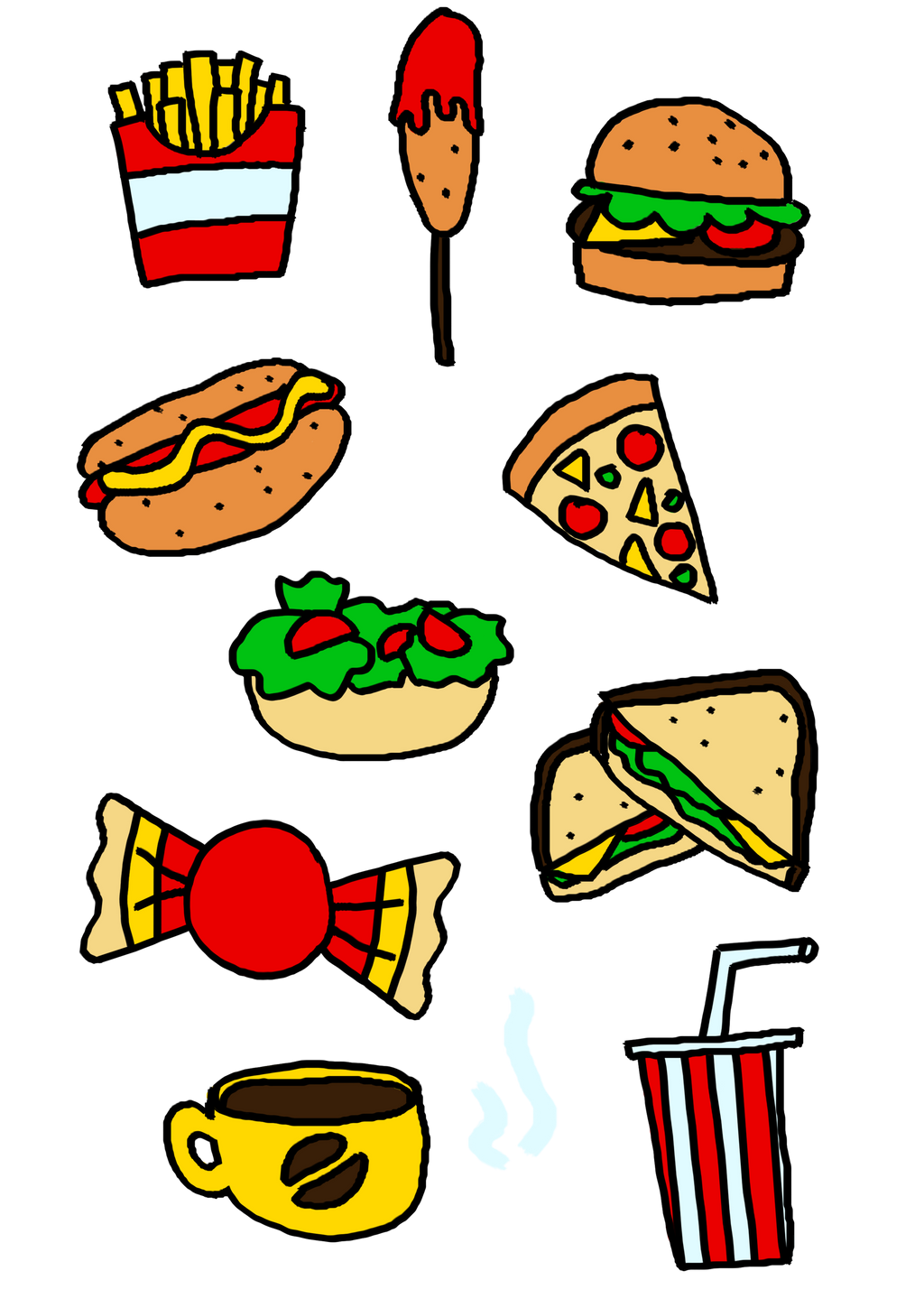 Healthy And Unhealthy Food Concept Vector. Isolated ... |Unhealthy Food Cartoon