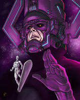 Galactus and Silver Surfer by peetietang