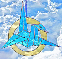 Stained Glass Origami Crane by bigblued
