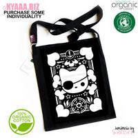 kyaaa.biz - Pirate Cat Organic Tote Bag Shopper by shiricki