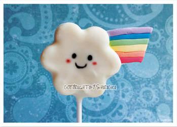 Postcard - Rainbow Cloud Cake Pop by shiricki