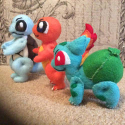 Squirtle, Charmander, and Bulbasaur (felt dolls) by MichelleBergeron