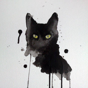 Black cat watercolor by excentric
