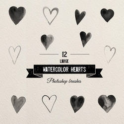 ps brushes - big watercolor hearts by excentric