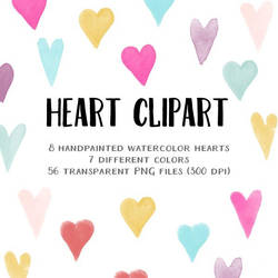 Clipart - small watercolor hearts by excentric