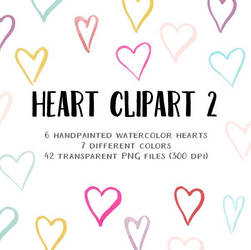 Clipart - small watercolor hearts 2 by excentric