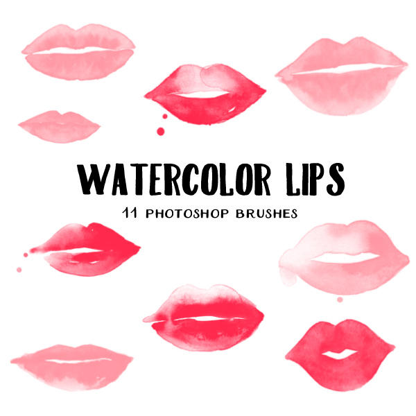 watercolor lips photoshop brushes by excentric