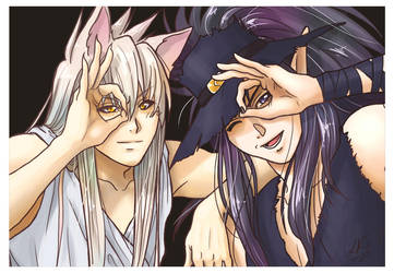 Youko and Kuronue - Poker Face by Yon-kitty