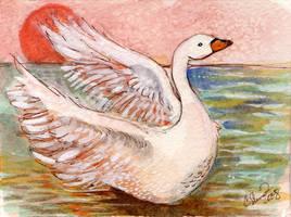 Swan Watercolor mini painting by BlueBirdie