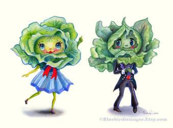 Kitschy cute Leafy Greens couple by BlueBirdie