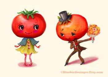 Kitschy Cute Couple Tomato Tomato by BlueBirdie
