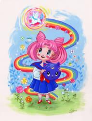 Sailor Chibi Moon Retro Shoujo Fanart by BlueBirdie