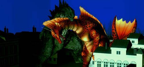 Godzilla vs Titanosaurus by Probroart95