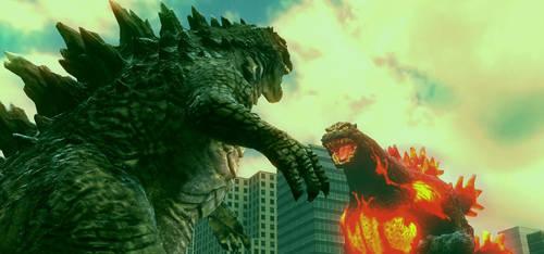Legendary Godzilla vs Burning Godzilla by Probroart95