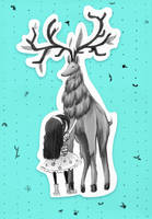 Fluffy Deer with Little Girl by Chocoreaper