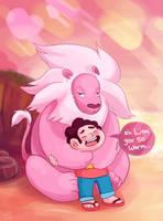Steven + Lion Hug by Chocoreaper