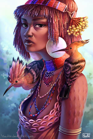 Hamar Woman with Hoopoes by Yseulta