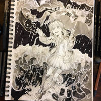 Inktober 2017 #3 - It's Raining Cats and... Cats? by whizafriz