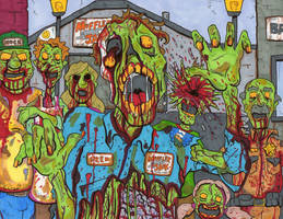 Zombie Main Street Colored by lagatowolfwood