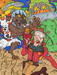 Chip Debris Vs. The Werewolf Astronaut by lagatowolfwood